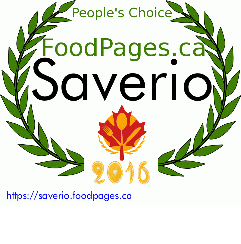 Saverio FoodPages.ca 2016 Award Winner